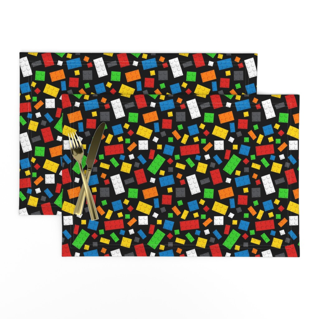 Lamona Cloth Placemats featuring Building Brick Scatter by designedbygeeks