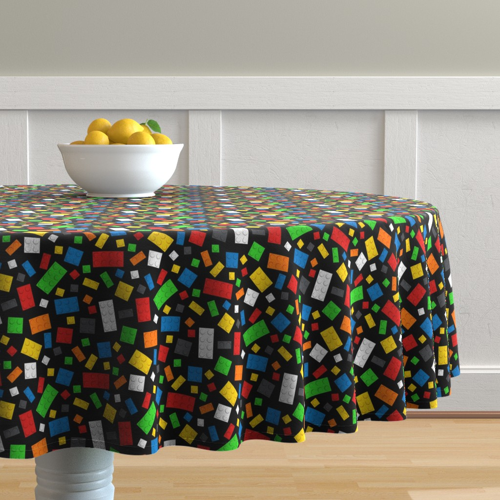 Malay Round Tablecloth featuring Building Brick Scatter by designedbygeeks
