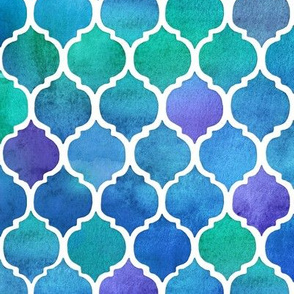 Blue and Green Watercolor Textured Moroccan - small
