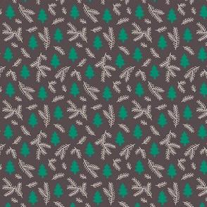 Christmas pine trees on gray