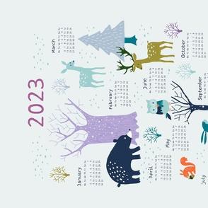 Winter Woodland tea towel calendar 2021
