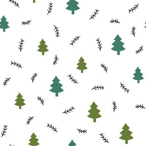 Pine forest olive on white