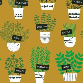 Herbs in pots (ochre)
