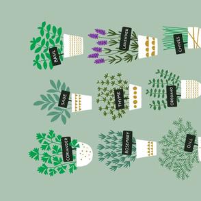 Herbs in pots tea towel (light)