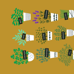Herbs in pots tea towel (ochre)