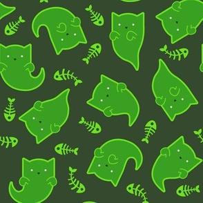 Phantom Felines - Green Ghosts on Gray