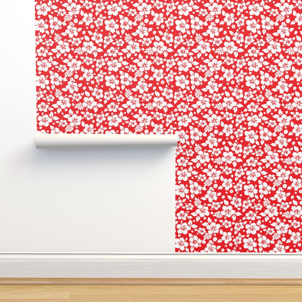 Isobar Durable Wallpaper featuring Hawaiian_Flora_Hibiscus_Pattern_Red-01 by furbuddy