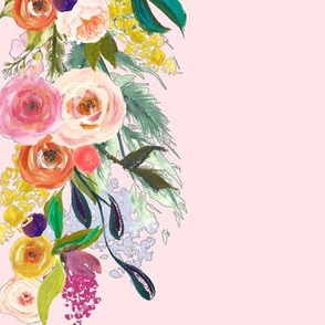 Melissa's Autumn  Blooms Painted Floral Border // Pink