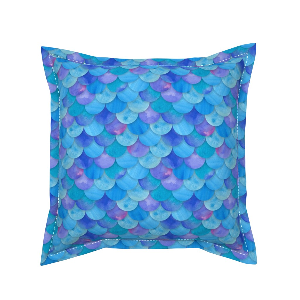 Serama Throw Pillow featuring Blue Mermaid by washburnart