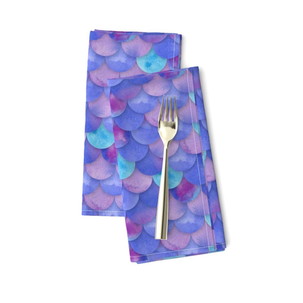 Amarela Dinner Napkins featuring Purple Mermaid Scales by washburnart