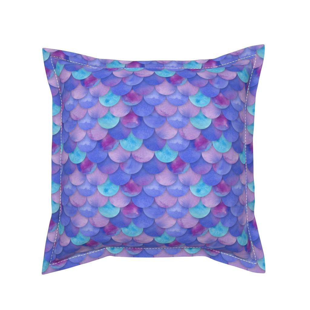 Serama Throw Pillow featuring Purple Mermaid Scales by washburnart
