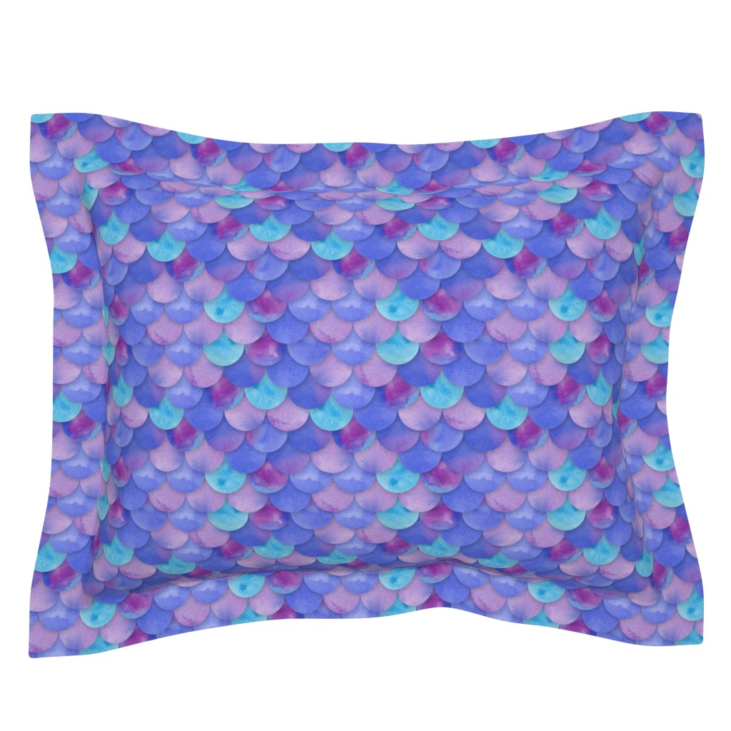 Sebright Pillow Sham featuring Purple Mermaid Scales by washburnart