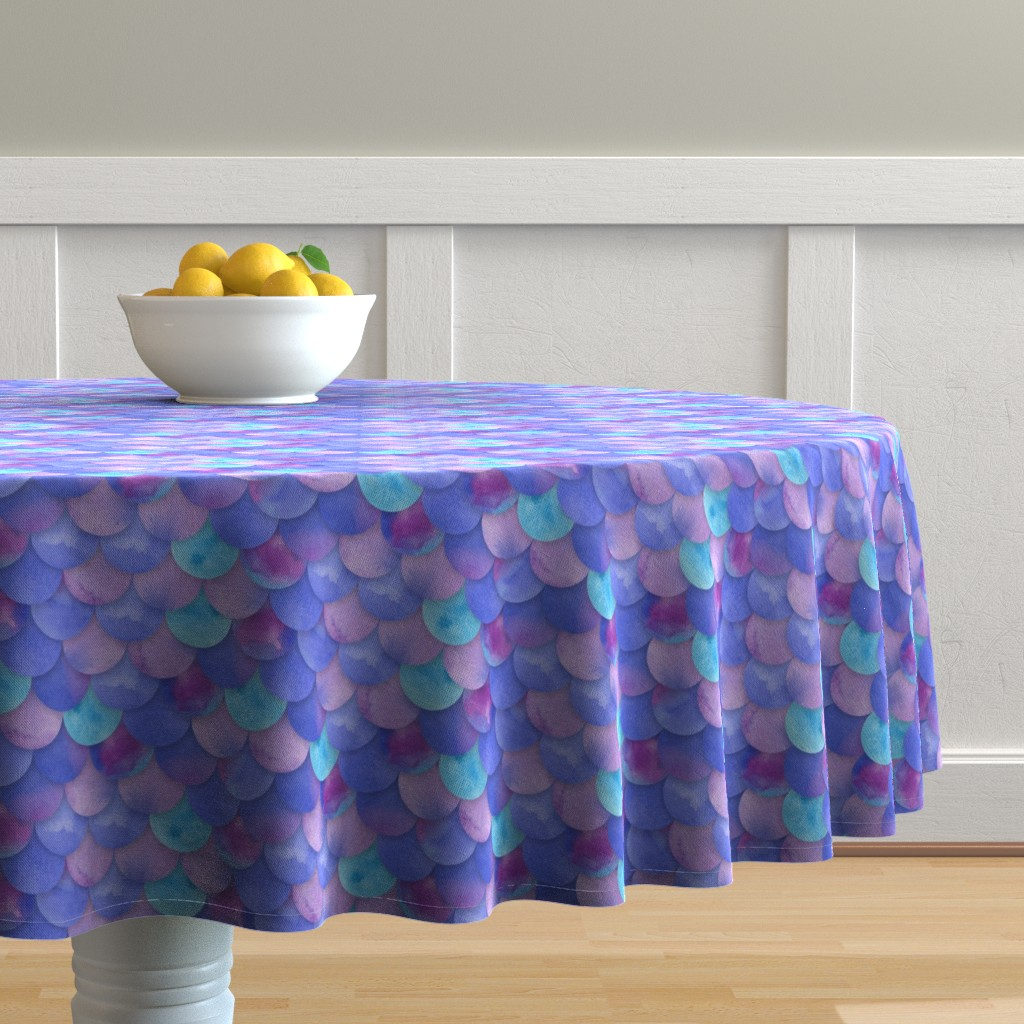 Malay Round Tablecloth featuring Purple Mermaid Scales by washburnart