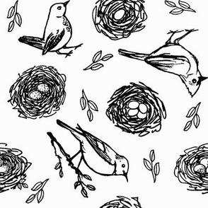 Birds & Nests in Black & White