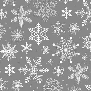 Snowflakes Winter Christmas  on Grey