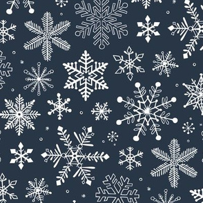 Snowflakes Christmas Holiday on Navy Blue