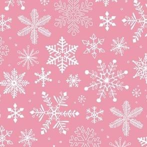 Snowflakes Christmas on Pink