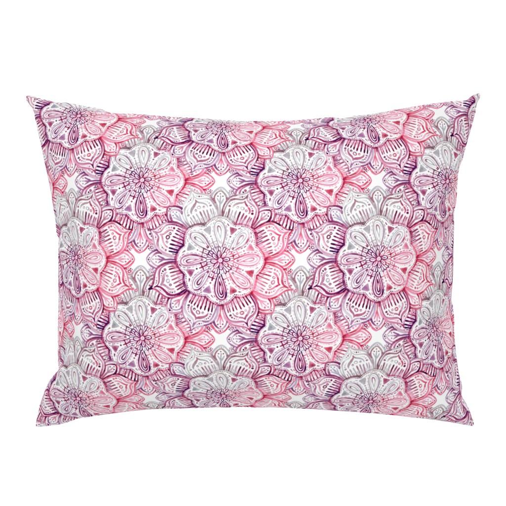 Campine Pillow Sham featuring Burgundy Blush Watercolor Mandala by micklyn