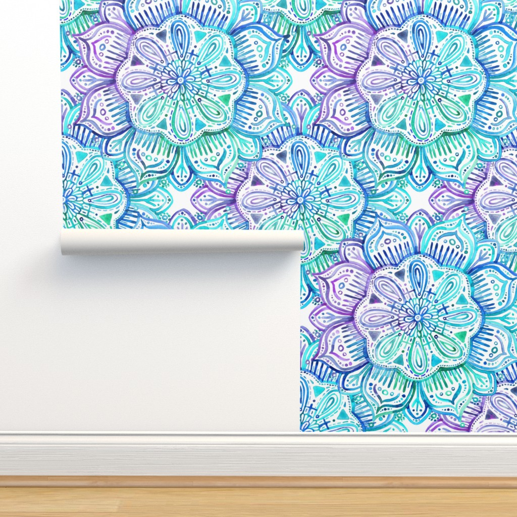 Isobar Durable Wallpaper featuring Iridescent Aqua and Purple Watercolor Mandala  by micklyn