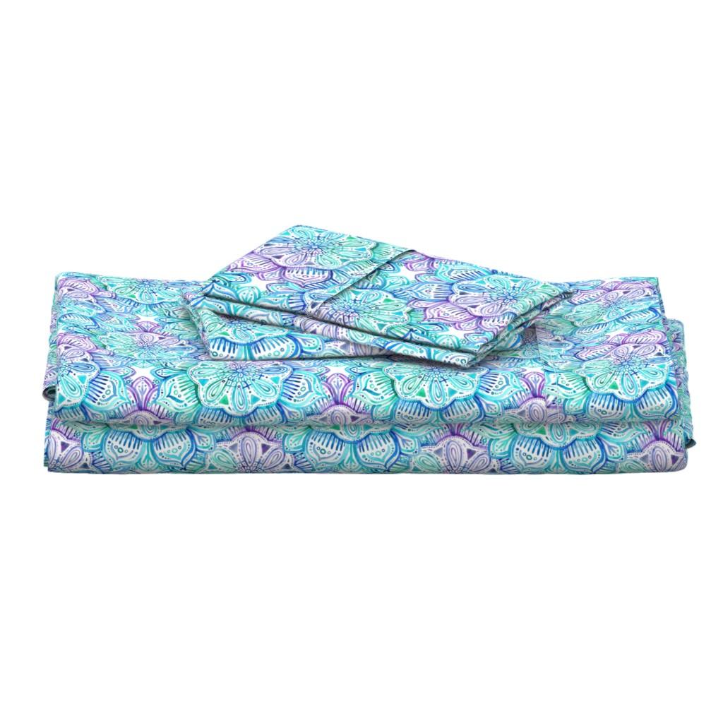 Langshan Full Bed Set featuring Iridescent Aqua and Purple Watercolor Mandala  by micklyn