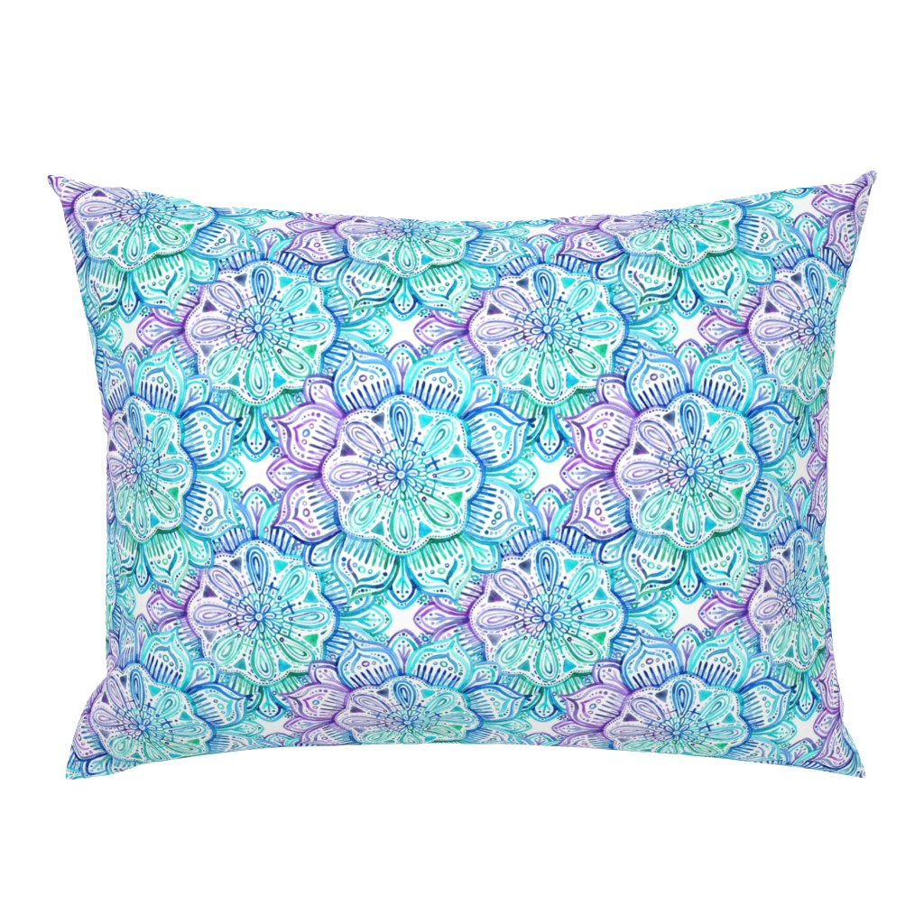 Campine Pillow Sham featuring Iridescent Aqua and Purple Watercolor Mandala  by micklyn