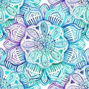 Iridescent Aqua and Purple Watercolor Mandala