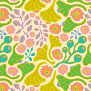 Groovy Botanicals Florals Buds Leaves Pink Orange Green Yellow Coral