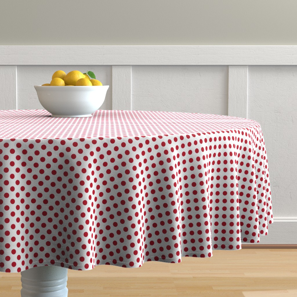 Malay Round Tablecloth featuring White + Polka Red dots by mia_valdez