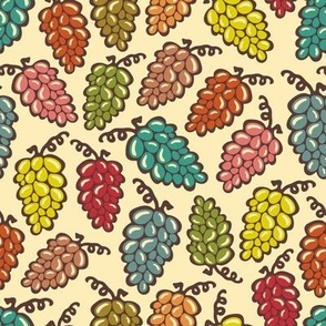 Juicy Grapes Vintage Retro Red Turquoise Yellow Green Pink Brown