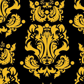 Badger Damask Gold on Black Large Print