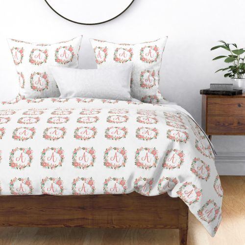 Colorful fabrics digitally printed by Spoonflower - A monogram girls sweet  florals flowers flower wreath girls monogram pillow fabric swatch design ...