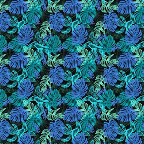 tropical leaves - blue - small
