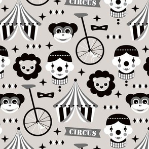 Come join our circus animals and clown and fun fair shows with lions and monkeys black and white gray