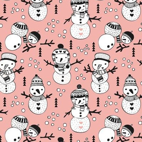 Cute winter snowman sweet snow woodland design with snow puppet in black and white and soft peach pink