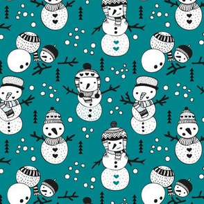 Cute winter snowman sweet snow woodland design with snow puppet in black and white and teal blue