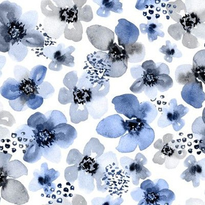 Painted Blue Berry Floral by Angel Gerardo