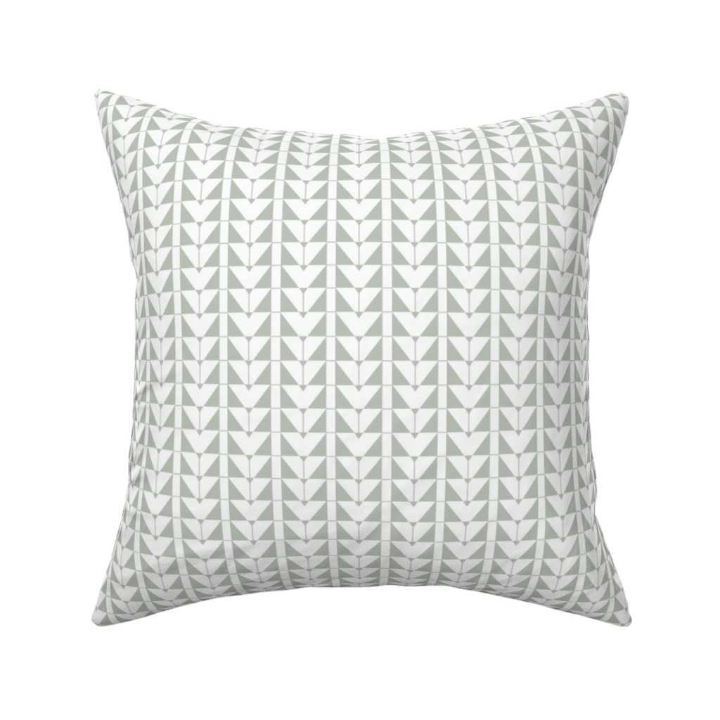 Catalan Throw Pillow featuring Geometric Triangles, gray green by cindylindgren