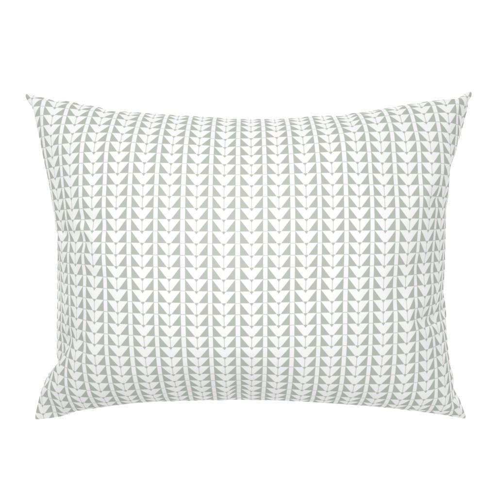 Campine Pillow Sham featuring Geometric Triangles, gray green by cindylindgren