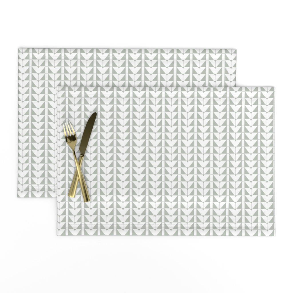 Lamona Cloth Placemats featuring Geometric Triangles, gray green by cindylindgren