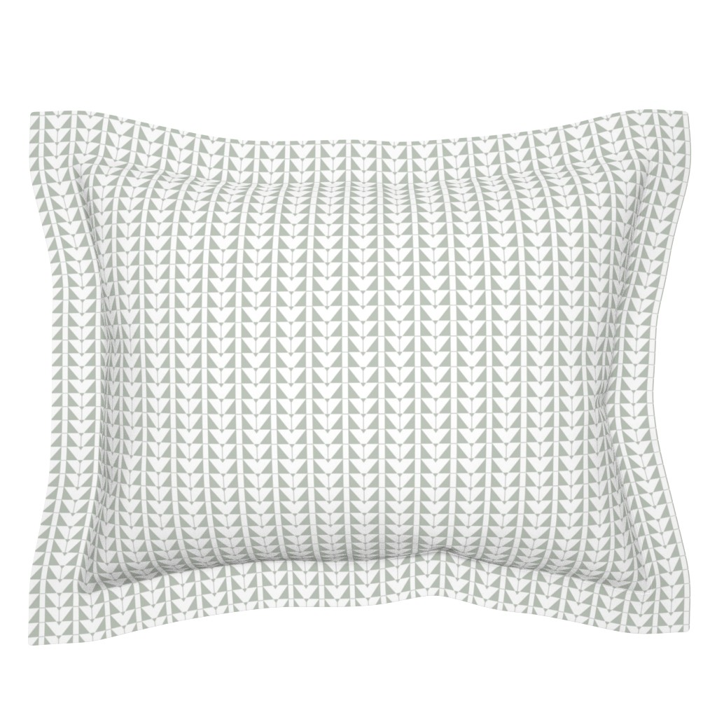 Sebright Pillow Sham featuring Geometric Triangles, gray green by cindylindgren