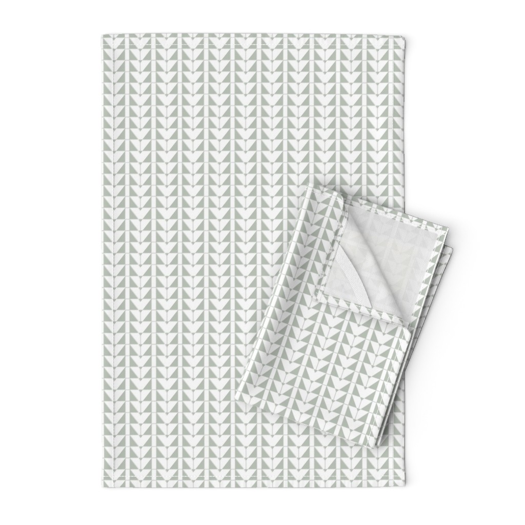 Orpington Tea Towels featuring Geometric Triangles, gray green by cindylindgren