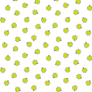 apple dots scattered on white