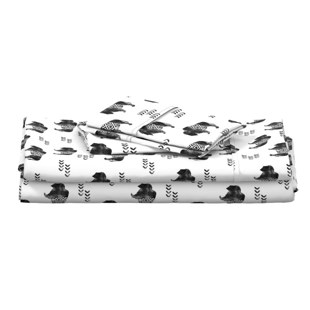 Langshan Full Bed Set featuring buffalo aztec - distressed    b&w by littlearrowdesign