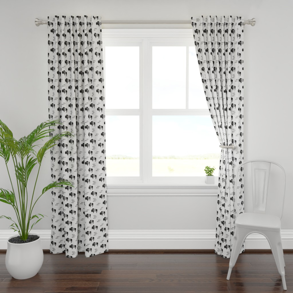 Plymouth Curtain Panel featuring buffalo aztec - distressed || b&w by littlearrowdesign