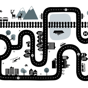 Road map horizontal (yard size) black/white/gray