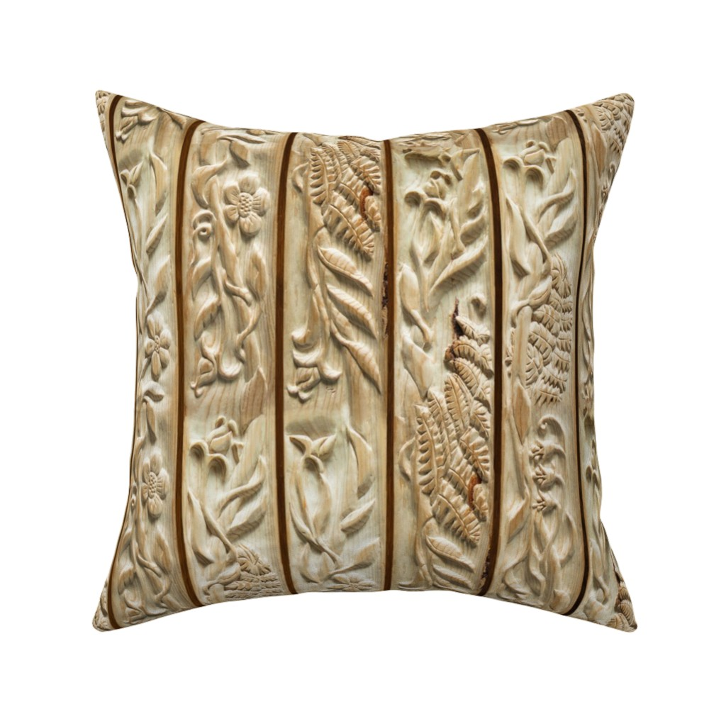 Catalan Throw Pillow featuring Floral Wood Carving Stripe by juliamonroe