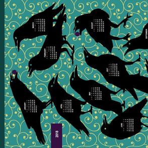 2018 Black Bird Tea Towel Calendar