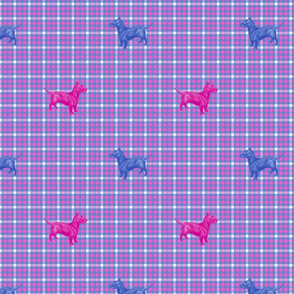 Emily Haddyr Presents Royal Dog Party ~ Scottie Plaid Flannel 3 ~ Comtesse and Nelson