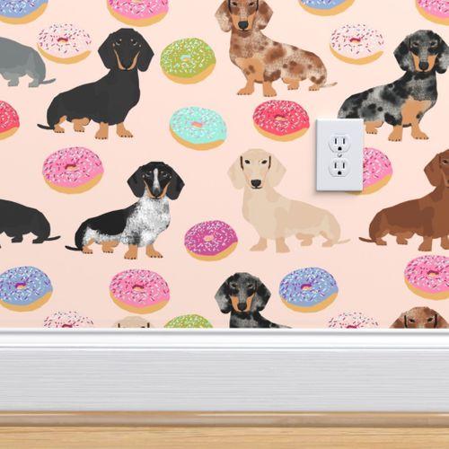 Wallpaper Doxie Dachshund Dog Donuts Dachshunds Dog Pink Cute Food Fabrics Dog Fabric Cute Dogs Dachshunds Fabric