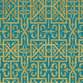 Renaissance Scrollwork Trellis ~ Gilt on Vicomte